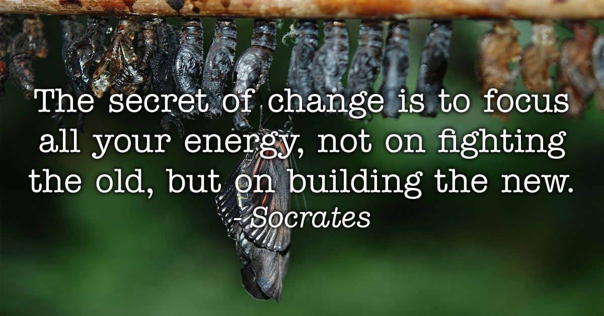 The secret of change is to focus all your energy, not on fighting the old, but on building the new. Socrates