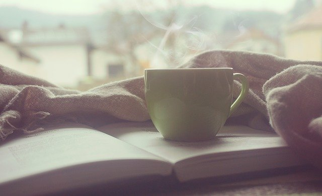 morning coffee and book